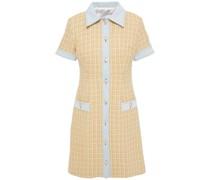 Mella Hemdkleid in Minilänge aus Tweed aus Einer Baumwollmischung mit Denimeinsätzen und Metallic-effekt
