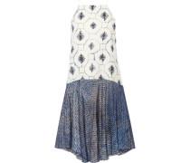 Printed Cotton And Silk-blend Dress Blau