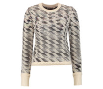 Wool-blend Jacquard-knit Sweater Ecru