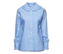 Calia Gestreiftes Hemd aus Baumwollpopeline mit Rüschen