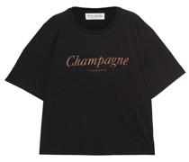 T-shirt aus Baumwoll-jersey mit Print in Metallic-optik