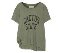 Bedrucktes T-shirt aus Baumwoll-jersey in Distressed-optik mit Knotendetail