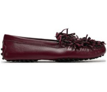 Fringed Leather Loafers Burgundy
