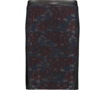 Dane Leather-trimmed Jacquard Skirt Blau