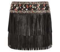 Fringed Embellished Leather Mini Skirt Schwarz