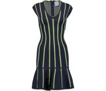Fluted striped stretch-knit dress
