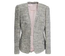 Woman Frayed Cotton-blend Bouclé-tweed Jacket Light Gray