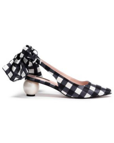 Olivia Embellished Checked Cotton And Silk-blend Slingback Pumps Navy
