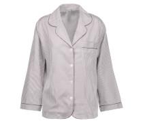 Striped Cotton Pajama Top Burgunder