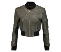 Nicole Cropped Textured-leather Bomber Jacket Armeegrün
