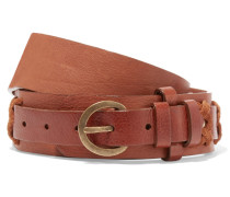 Stitched Leather Belt Braun