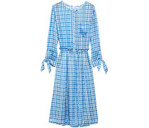 Gathered Gingham Chiffon Dress