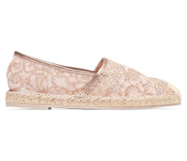 Leather-trimmed Lace Espadrilles Puder