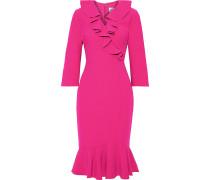 Wrap-effect Ruffled Stretch-cady Dress