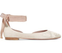 Embroidered suede ballet flats