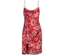 Avalyn Fringed Twist-front Printed Silk-charmeuse Mini Dress