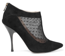 Padstow Point D'esprit-paneled Suede Ankle Boots Schwarz