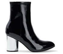 Dylan Crinkled Patent-leather Sock Boots