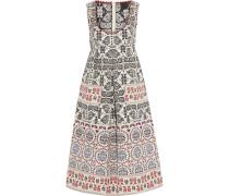 Pleated Metallic Cotton-blend Jacquard Dress Mehrfarbig