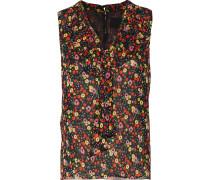 Pussy-bow Floral-print Silk-chiffon Top Mehrfarbig