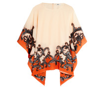 Saida Printed Silk Crepe De Chine Top Orange