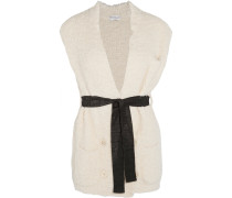 Belted Cotton-blend Bouclé Gilet Creme