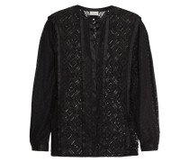 Cruz Silk-trimmed Lace Shirt Schwarz