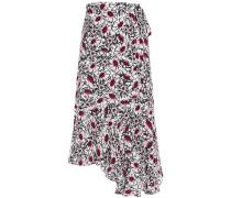 Caroline Asymmetric Floral-print Crepe Midi Wrap Skirt
