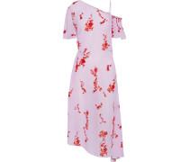 Calithea Cold-shoulder Shirred Floral-print Crepe De Chine Midi Dress