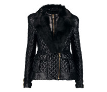 Faux Fur-trimmed Padded Quilted Shell Coat Schwarz