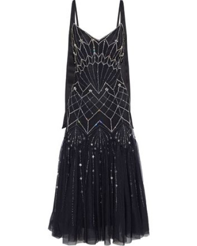 Glide Embellished Tulle Midi Dress Black Size 16