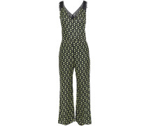 Guipure Lace-trimmed Printed Satin Jumpsuit