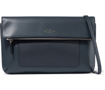 Woman Panama Textured And Smooth-leather Shoulder Bag Navy