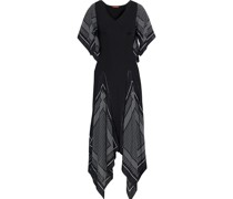 Witchhazel Printed Silk Crepe De Chine And Ribbed Jersey Midi Dress