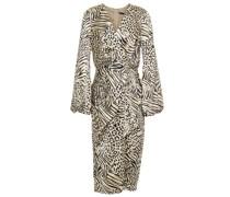 Bedrucktes Kleid aus Stretch-satin mit Wickeleffekt und Falten