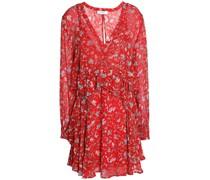 Beaumont Ruffled Printed Chiffon Mini Dress