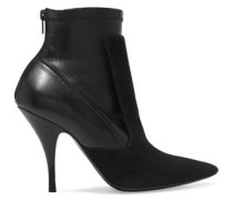 Ankle boots in black suede and stretch-leather