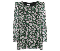 Bow-detailed floral-print crepe blouse