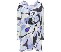 Ruffled Printed Metallic Silk-blend Voile Mini Wrap Dress