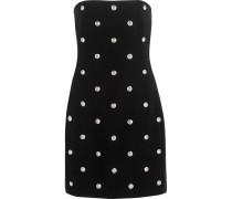 Embellished Crepe Mini Dress Schwarz