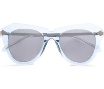 D-frmae Acetate And Silver-tone Mirrored Sunglasses Sky Blue Size --
