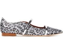 Maureen Leather-trimmed Leopard-print Lurex Point-toe Flats