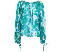 Lorette Geraffte Bluse aus Krepon mit Floralem Print