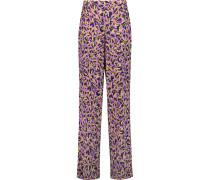 Printed Stretch Silk-twill Wide-leg Pants Pink