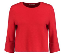 Cropped textured-knit sweater