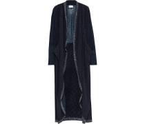 Crystal-embellished Printed Jersey-paneled Silk Crepe De Chine Kimono