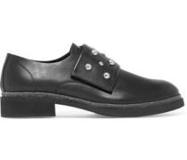 Stud-embellished leather loafers