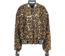 Leopard-print Sequined Woven Bomber Jacket