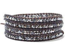 Silver-tone, Leather And Crystal Wrap Bracelet