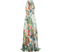 Pleated Printed Silk-chiffon Gown Mint